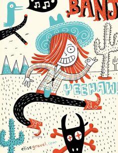 by Elise Gravel Elise Gravel, Interesting Drawings, Children's Book Illustration, Illustration Children, Desert Art, Kids Room Wall Art, Illustrations And Posters, Drawing For Kids, Graphic Design Inspiration
