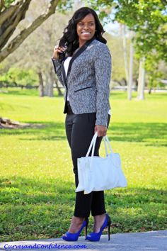 Curves and Confidence | Blazer - Target | Tank - Oldnavy | Pants - Zara | Shoes - Boutique 9 |  | Purse - Foley & Corinna |