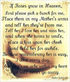 Our third Mother's Day without you mommy. I still can't believe your gone. I do my best everyday to take care of everything and know that you're by my side. Happy Mother's Day to you in heaven - I love and miss you with all my heart.