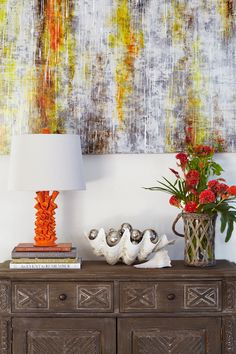 Arteriors Coral lamp - LOVE the seashell full of silver balls