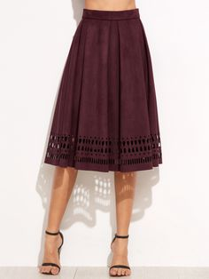 Shop Burgundy Suede Laser Cutout Midi Skirt online. SheIn offers Burgundy Suede Laser Cutout Midi Skirt & more to fit your fashionable needs.