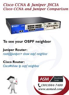 Cisco CCNA and Juniper Junos JNCIA Certification - To see your OSPF neighbor. For More info please visit http://asmed.com/juniper-networks-certified-associate-junos-jncia-junos-jn0-102/