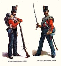 British Army Uniforms Crimean War | Crimean War Russian Uniforms An officer and grenadier