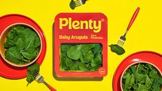 &Walsh's identity for health food brand Plenty is inspired by McDonald's Baby Arugula, Vertical Farming, Food Categories, Food Packaging, Food Branding, Packaging Design Inspiration, Fruits And Veggies, Junk Food, Lettuce