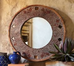 Nero Carved Round Mirror | Pottery Barn