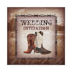 Cowboy Boots Country Western Wedding Invitation