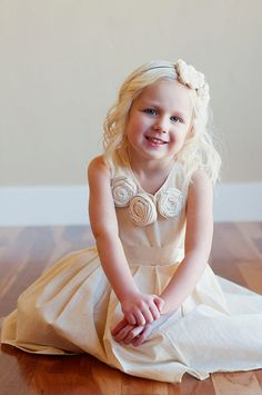 Toddler and Girls Flower girl dress ivory   in cotton by gillygray, $65.00