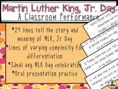 Looking for a unique Martin Luther King,Jr. Day  performance or a culminating activity after studying about King? Interested in a different way to show respect for Martin Luther King, one of the greatest civil rights activists? 24 lines allow you to structure a fast and fun class performance.