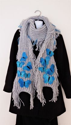 Knitted grey scarf, blue butterflies, funky long scarf, felted scarf, wool, butterfly, tropical, wearable art, gift for her, spring fashion