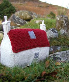 Knitting Pattern Scottish Red Roof Croft House