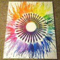 Circle crayon melting art :)