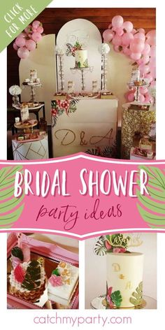 Take a look at this beautiful tropical bridal shower! The dessert table is lovely! See more party ideas and share yours at CatchMyparty.com #catchmyparty #partyideas #bridalshower #tropicalparty #tropicalbridalshower Bridal Shower Drinks, Tropical Bridal Showers, Bridal Shower Cakes, Bridal Shower Party, Party Drinks, Party Favors, Tropical Party Foods, Hawaiian Luau Party, Party Ideas