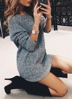 #fall #fashion / gray knit dress + boots