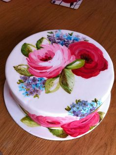 Hand painted celebration cake by Cakes by Occasion, via Flickr