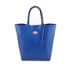 Leather tote handbag shopper bag blue leather tote por CHUCHULove, $120.00