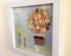 Button Art - Pastel 3D Art - Hot Air Balloon Nursery Artwork - Vintage Buttons