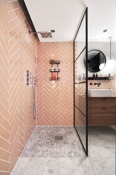 Ca' Pietra Carter Rose pink tile in a shower with black crittall shower. Pink Tiles, Pink Bathroom Tiles, Small Bathroom With Shower, Loft Bathroom, Kid Bathroom Decor, Black Tile Bathrooms, White Tile Shower, Wet Room Shower, Bathroom Goals