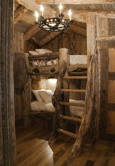 This is how I would design Carson's tree house or his bedroom in a cabin on the farm.