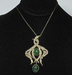 18k Double Diamond Swans Pendant - Unique! from divinefind on Ruby Lane