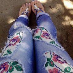 Оригинальная вышивка на джинсах