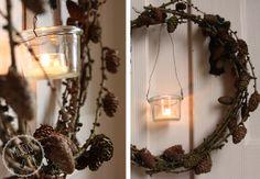 Lärchen-Licht - ein zierlicher Kranz aus Lärchenzweigen mit Weckglas-Windlicht :: DIY larch wreath