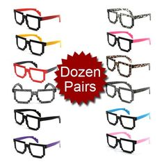 (Price/Dozen Pairs)Assorted Random Colors Pixelated Computer Novelty Nerd Geek Gamer Spectacle Frames, Party Glasses coupon| Games Information