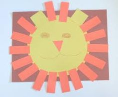 Shapes Lion:  Circles, triangle, squares and rectangles for the lion face. Cutting uses fine motor skills.