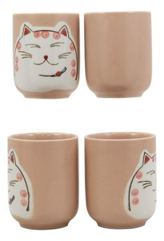 """• This Maneki Neko ceramic tea pot set serves four people, containing 1 teapot(20oz) with strainer and wooden handle, 4 tea cups packaged in a set box.• Tea pot measurements: 4.5""""H (without handle) by 6.25""""L by 4.25"""" W. The teapot has a 20 oz capacity. Tea Cup: 3""""H and 2.25"""" in Diameter. Each cup has a 4 oz capacity.• This Maneki Neko set is Japanese designed and Made in a state of the art earthenware factory in China. Our traditionally crafted teapot set is made of the highest quality ceramics Tea Pot Set, Pot Sets, Matte Pink, Anime Cat, Maneki Neko, Japanese Design, Cupping Set, Wooden Handles, Cat Gifts"""