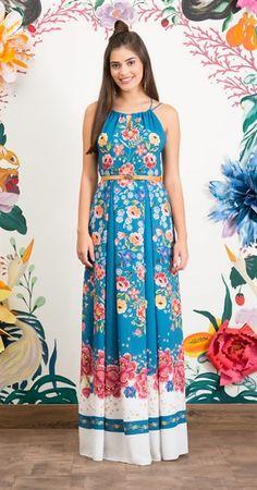Vestido Longo Barrado Floral I