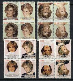 Easdale Is 2007 Princess Diana in Memoriam 10th Anniv. INVERTED blk4 with normal (scarce, only 1 sheet reported) MUH