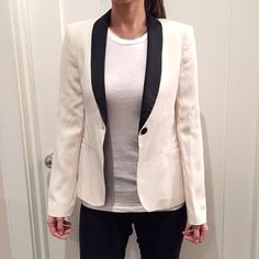 Zara Fitted Tuxedo Jacket Brand new, never worn. One very tiny stain near the buttonhole from storage, can be drycleaned. Comes with two spare buttons - a small one for the sleeves and a big one for the front. No trades please Zara Jackets & Coats Blazers