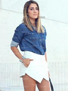 Maria Garcia In Asymmetrical Geometric Shorts