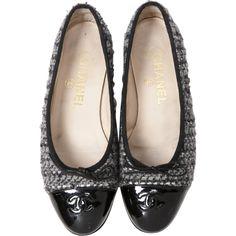 Chanel Tweed Ballet Flats   Vestiaire Collective