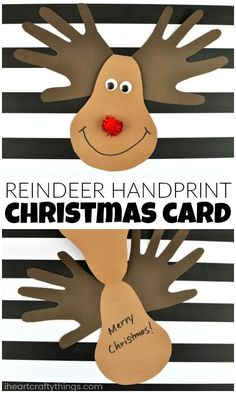 Make an adorable reindeer handprint Christmas card for Mom, Dad or Grandma. Fun Christmas keepsake crafts and kid-made Christmas cards. #handprintart #christmascard #christmascraftsforkids #handprintcraft