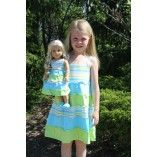 Green and Blue Striped Tiered Sundress For Girl and American Girl or Bitty Baby Doll www.weeline.com $36.00