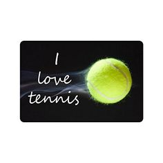 "Fashionbale Decor Personalized Tennis Ball Durable Quotes I love tennis Indoor/Outdoor Doormats 23.6""(L) x 15.7\""(W) 3/16\"" Thickness *** Check out this great product."