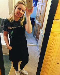 WEBSTA @ hayleyloveshighstreet - First day of half term and I'm off to work 💇🏼 Relaxed outfit today in my iron maiden tee,dungaree dress and cons, long old day on my feet today.#hayleyloveshighstreet #workingmummy #slogantee #primark #nextofficial #converse #mumstyle #fashionblogger #outfitinspiration #ootd #wiwt