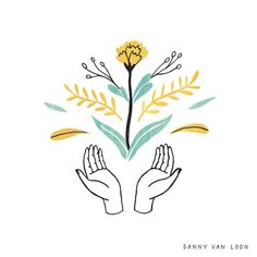 Illustration to accompany an article in Flow Magazine about 'The Power of Meaning', a book written by Emily Esfahani Smith | By Sanny van Loon • Illustration | flowers | floral | hands | branches