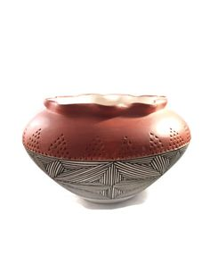Amazing Native American  Olla from Acoma, N.M.  The olla or water bowl is unsigned but the design and style appears to be Grace Chino, but I do not know that for sure.  The... #etsysale #shopsmall #vintageshop #vintagelife #vintagelover #art #sculpture