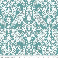 curtains? Riley Blake Designs - Hollywood - Medium Damask in White on Teal