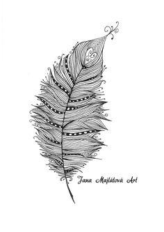 Feather by Jana Majlátová Art  drawing, marker, zentagle