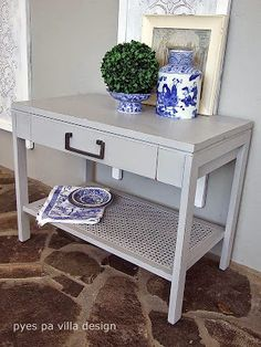 Cane Side Table redone - Friday Finds