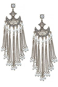 THE JEWEL RACK MINI FAUX PEARL CRYSTAL ACCENT CHANDELIER EARRINGS Gold ** Read more reviews of the product by visiting the link on the image. Note:It is Affiliate Link to Amazon.