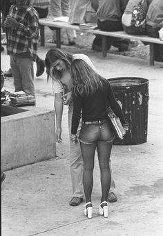 Hot pants and high heels at Hamilton high school in Los Angeles, 1973.