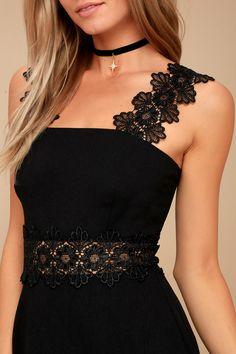 Visual Treat Black Lace Skater Dress 4