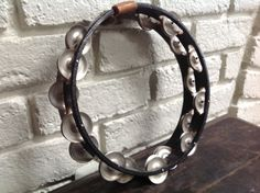 Vintage black wood double row tambourine  musical instrument by Hannahandhersisters on Etsy