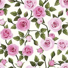 Seamless pattern with pink roses. Vector illustration. vektör sanat illüstrasyonu