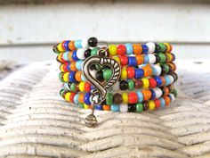 Beaded Wrap Bracelet - Bright Opaque Glass Beads in Crayon Box Colors - Open Heart Charm - Memory Wire