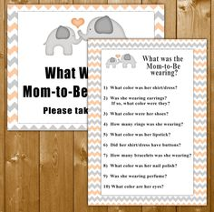 Peach Elephant Baby Shower Games, What Was Mom-to-Be Wearing Game Printable, Baby Shower Games, Baby Shower Game, Instant Download