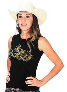 e959f6f252 blusinha feminina regata preta com desenho de espora country p9835 - Busca  na Loja Cowboys - Moda Country